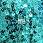 Rain Drop Sequins on Taffeta Fabric Aqua