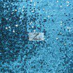Rain Drop Sequins on Taffeta Fabric Turquoise