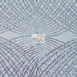 Unique Diamond Fabric By The Yard White Silver