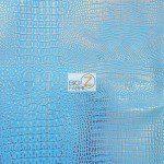 African Crocodile Vinyl Fabric By The Yard Blue Silver