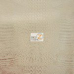 African Crocodile Vinyl Fabric By The Yard Peach Gold