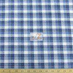 Tartan Plaid Flannel Fabric By The Yard Blue White
