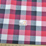 Tartan Plaid Flannel Fabric By The Yard Red Black White