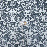 Classic Damask Lace Fabric Black By Yard