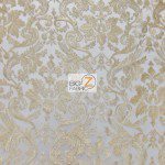 Classic Damask Lace Fabric Gold By Yard