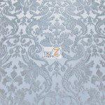 Classic Damask Lace Fabric Silver By Yard