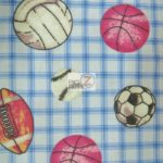 Multi Sports Print Flannel Fabric Gingham Blue By The Yard