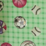 Multi Sports Print Flannel Fabric Gingham Green By The Yard