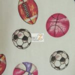 Multi Sports Print Flannel Fabric White By The Yard