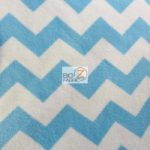 Chevron Fleece Fabric White Blue By The Yard