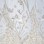 Metallic Ostrich Fern Floral Lace Fabric Ivory By The Yard